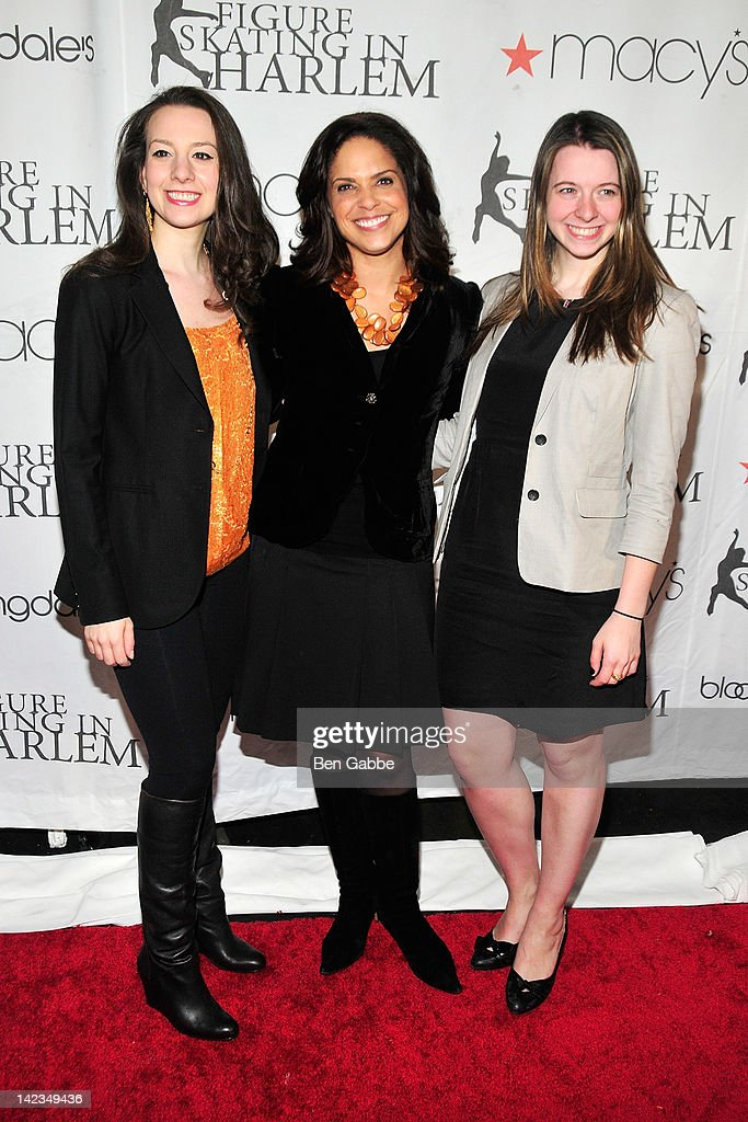 Sarah Hughes, Soledad O'Brien and Emily Hughes attend the 2012 Skating with the Stars gala at theWollman Rink - Central Park on April 2, 2012 in New York City.