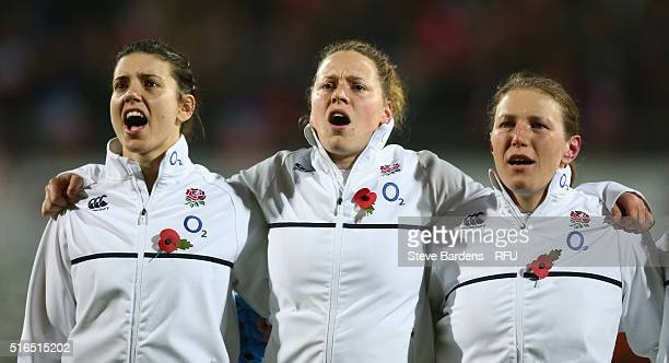 Sarah Hunter Amber Reed and Rochelle Clark of England women sing the national anthem prior to the Womens Six Nations match between France women and...