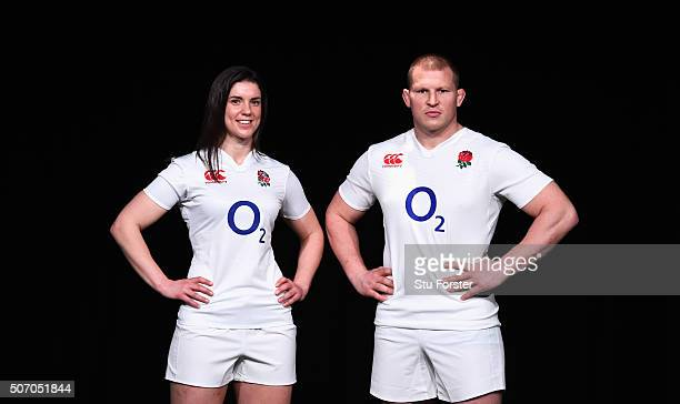 Sarah Hunter captain of England Women and Dylan Hartley captain of England pose during the RBS Six Nations launch at The Hurlingham Club on January...