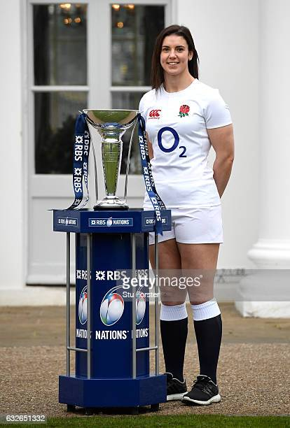 Sarah Hunter Captain of England Women poses with The Six Nations Trophy during the 2017 RBS Six Nations launch at The Hurlingham Club on January 25...