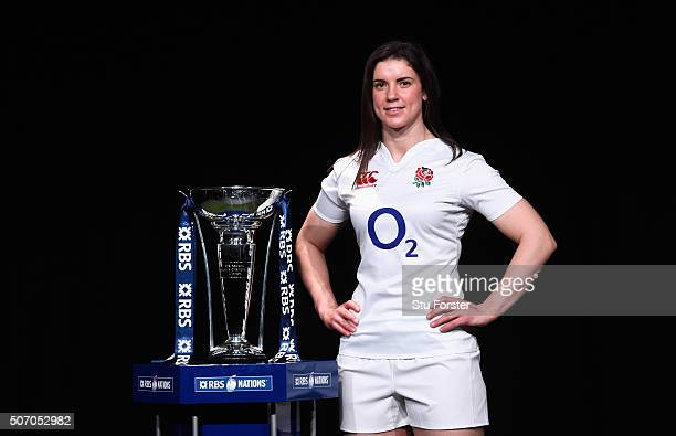 Sarah Hunter captain of England Women poses with the trophy during the RBS Six Nations launch at The Hurlingham Club on January 27 2016 in London...
