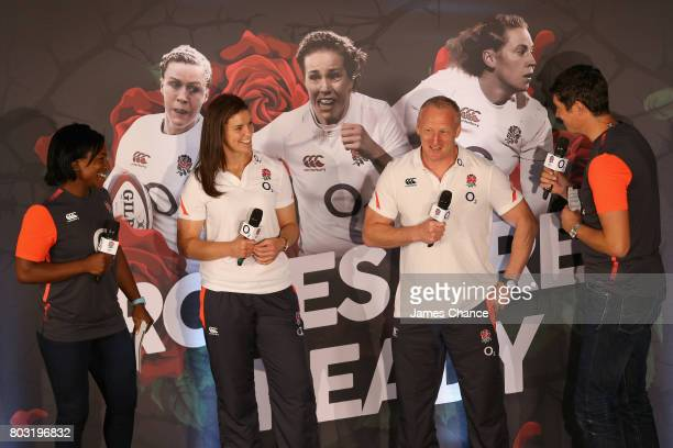 Sarah Hunter captain of England Women's Rugby and Simon Middleton head coach of England Women's Rugby speak to presontors Maggie Alphonsi former...