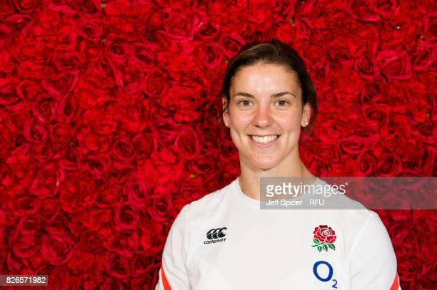 Sarah Hunter captain of England Women's Rugby poses for a portrait as the team depart for the Rugby World Cup at Heathrow Airport on August 5 2017 in...