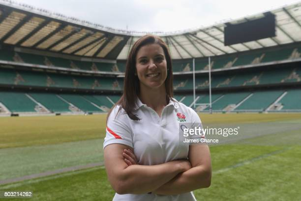 Sarah Hunter captain of England Women's Rugby poses for a portrait after England Women's Rugby World Cup Squad Announcement at Twickenham Stadium on...