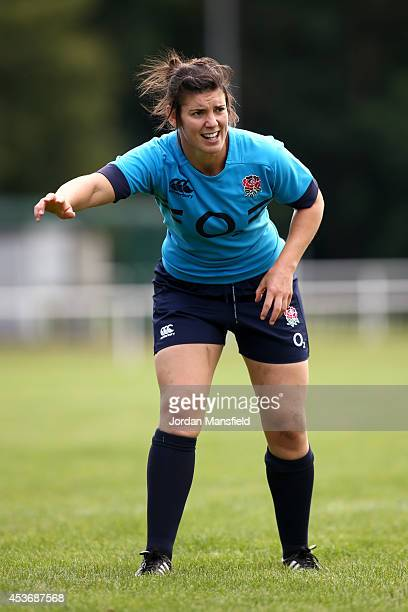 Sarah Hunter in action during the England Captain's Run for the IRB Women's Rugby World Cup 2014 at Stade Montelievres on August 16 2014 in Paris...