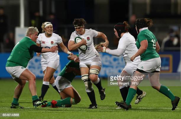 Sarah Hunter of England charges upfield during the Women's Six Nations match between Ireland and England at Donnybrook Stadium on March 17 2017 in...