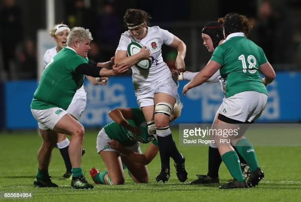 Sarah Hunter of England charges upfield during the Womens Six Nations match between Ireland Women v England Women at Donnybrook Stadium on March 17...