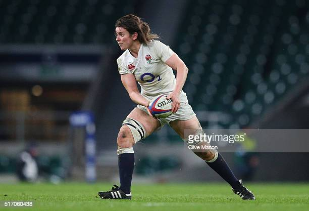 Sarah Hunter of England passes the ball during the Women's Six Nations match between England and Ireland at Twickenham Stadium on February 27 2016 in...