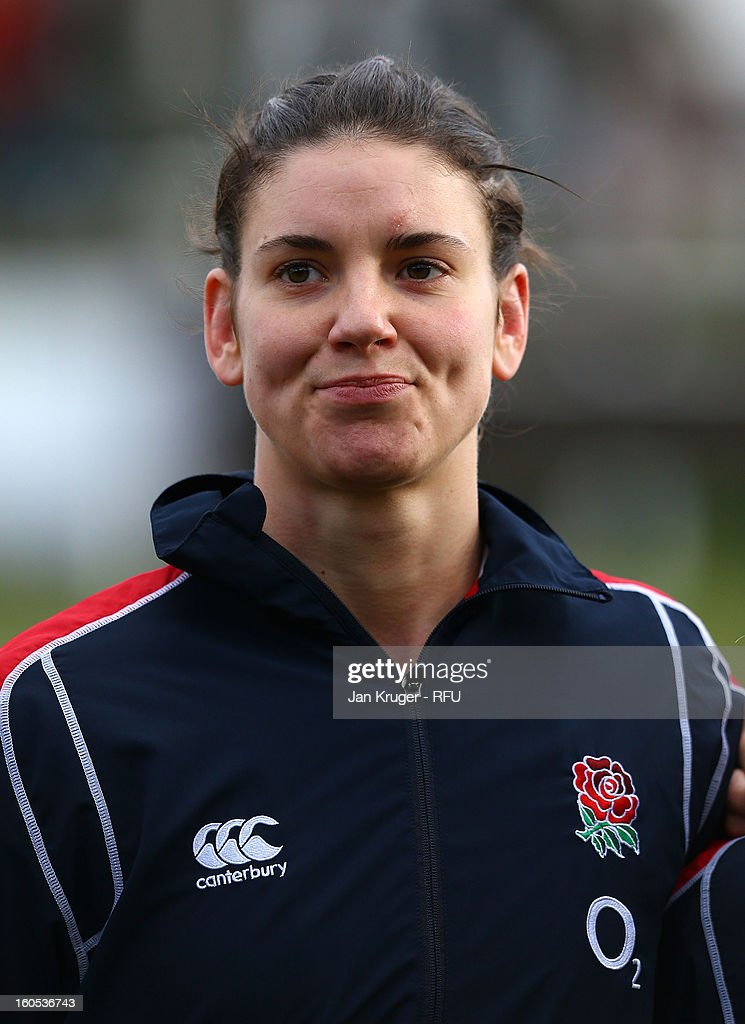 Sarah Hunter of England Women lines up for the anthem during the Womens Six Nations match between England and Scotland at Esher RFC on February 2, 2013 in Esher, England.