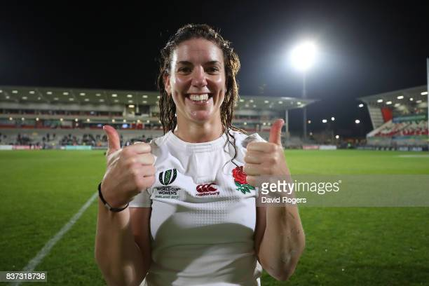 Sarah Hunter the captain of England celebrates following her team's 203 victory during the Women's Rugby World Cup 2017 Semi Final match between...
