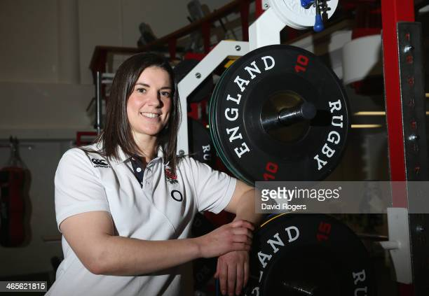 Sarah Hunter the England Women's vice captain poses after the England media conference held at Twickenham Stadium on January 28 2014 in Twickenham...