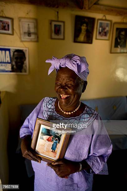 Sarah Hussein Obama the grandmother of US Presidential candidate Barack Obama holds a photo of her grandson as she awaits the results of Super...