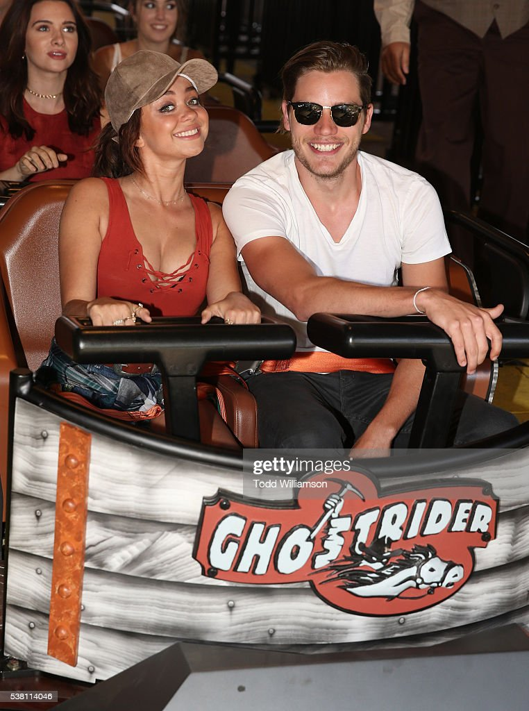 Sarah Hyland and Dominic Sherwood ride a rollarcoaster at the GHOSTRIDER Reopening @ Knott's Berry Farm Buena Park CA at Knott's Berry Farm on June 4...