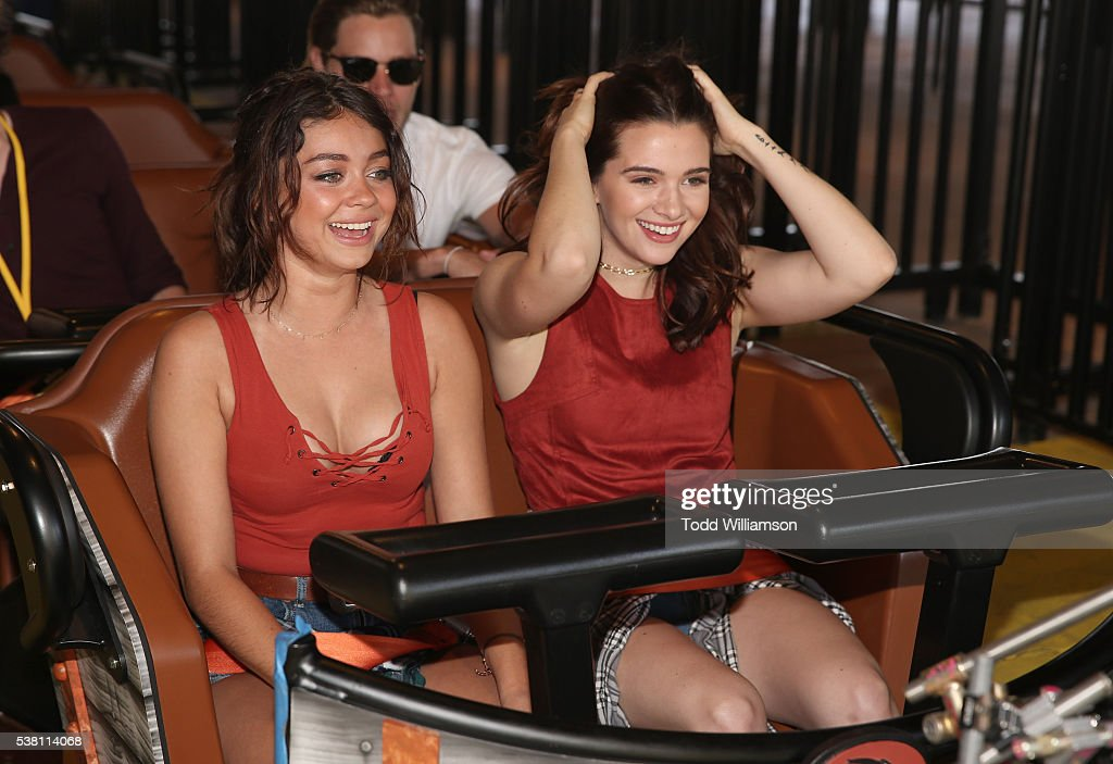 Sarah Hyland and Katie Stevens ride a rollarcoaster at the GHOSTRIDER Reopening @ Knott's Berry Farm Buena Park CA at Knott's Berry Farm on June 4...