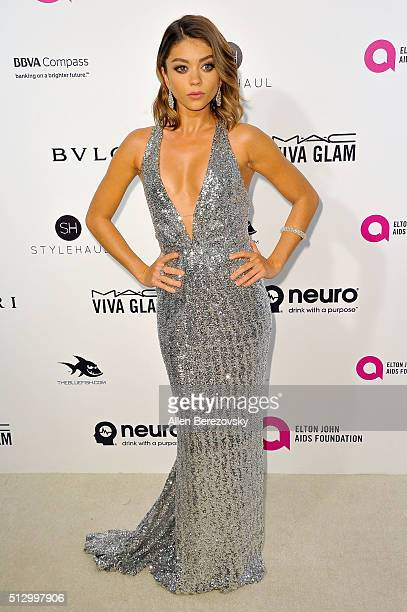 Sarah Hyland arrives at the 24th Annual Elton John AIDS Foundation's Oscar Viewing Party on February 28 2016 in West Hollywood California