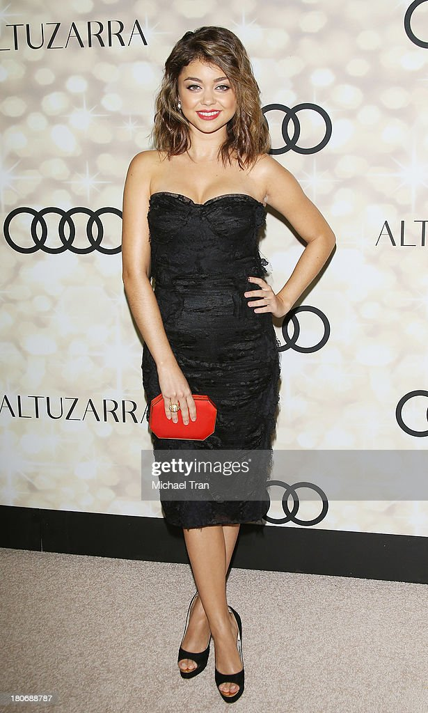 <a gi-track='captionPersonalityLinkClicked' href=/galleries/search?phrase=Sarah+Hyland&family=editorial&specificpeople=3989646 ng-click='$event.stopPropagation()'>Sarah Hyland</a> arrives at the Audi and Altuzarra EMMYs week 2013 kick-off party held at Cecconi's Restaurant on September 15, 2013 in Los Angeles, California.