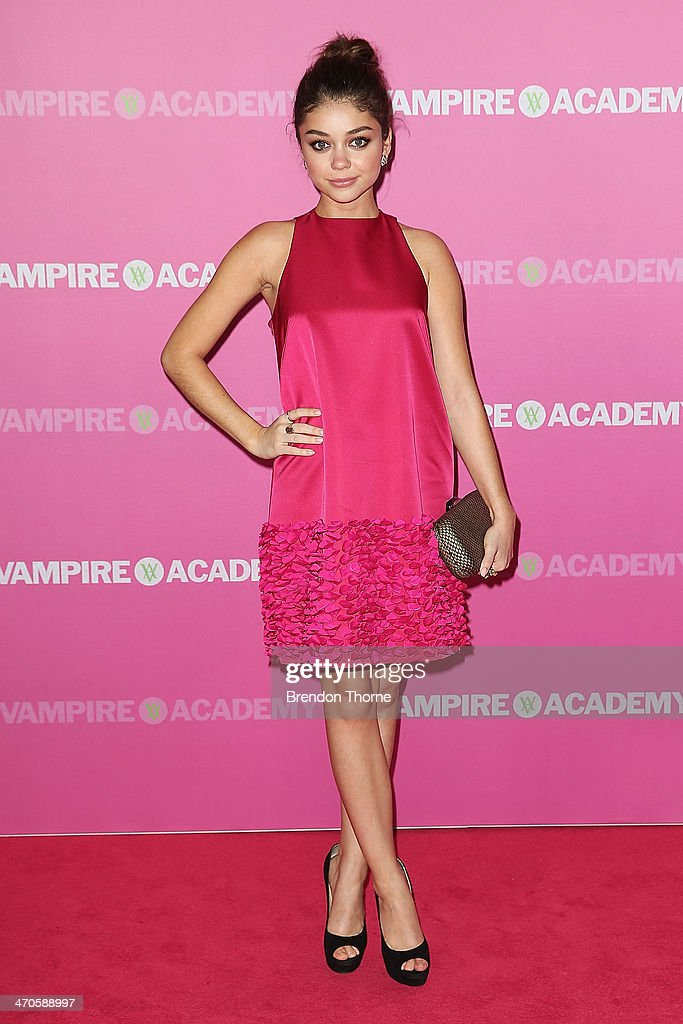 Sarah Hyland arrives at the 'Vampire Academy' premiere at Event Cinemas George Street on February 20, 2014 in Sydney, Australia.