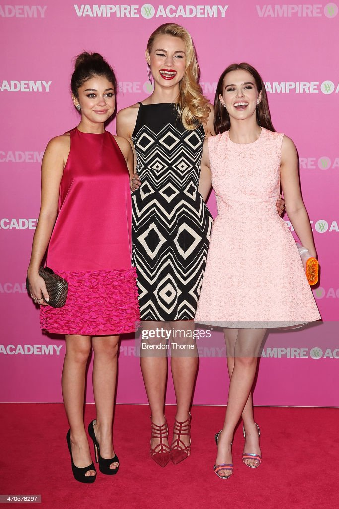 Sarah Hyland, Lucy Fry and Zoey Deutch arrive at the 'Vampire Academy' premiere at Event Cinemas George Street on February 20, 2014 in Sydney, Australia.