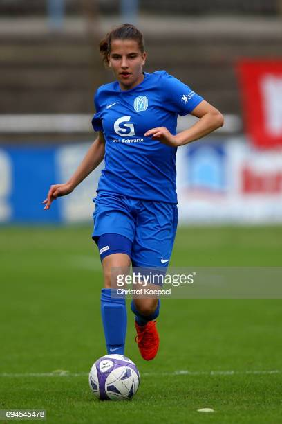 Sarah Jabbes of Meppen runs with the ball during the B Junior Girl's German Championship Semi Final match between SV Meppen and Bayern Muenchen at...