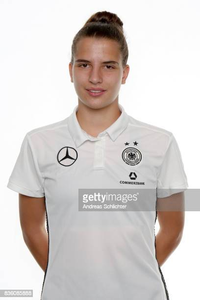 Gruenberg GERMANY AUGUST 20 Sarah Jabbes poses during Germany U17 Girl's Team Presentation on August 20 2017 in Gruenberg Germany