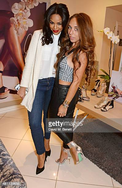 Sarah Jane Crawford and Chloe Green attend the launch of the 'CJG' collection by Chloe Green at TopShop Oxford Circus on March 28 2014 in London...