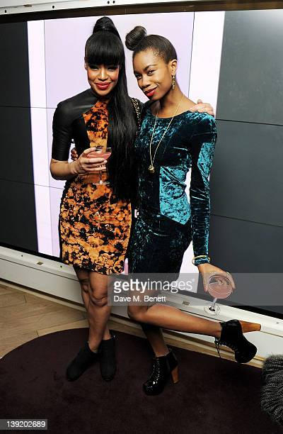Sarah Jane Crawford and Tolula Adeyemi attend the launch of 'She Died of Beauty' as part of London Fashion Week Autumn/Winter 2012 at The Club at The...