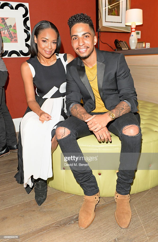 Sarah Jane Crawford and Troy the Magician attend the NYX Cosmetics Face Awards UK at the Ham Yard Hotel on August 13 2015 in London England