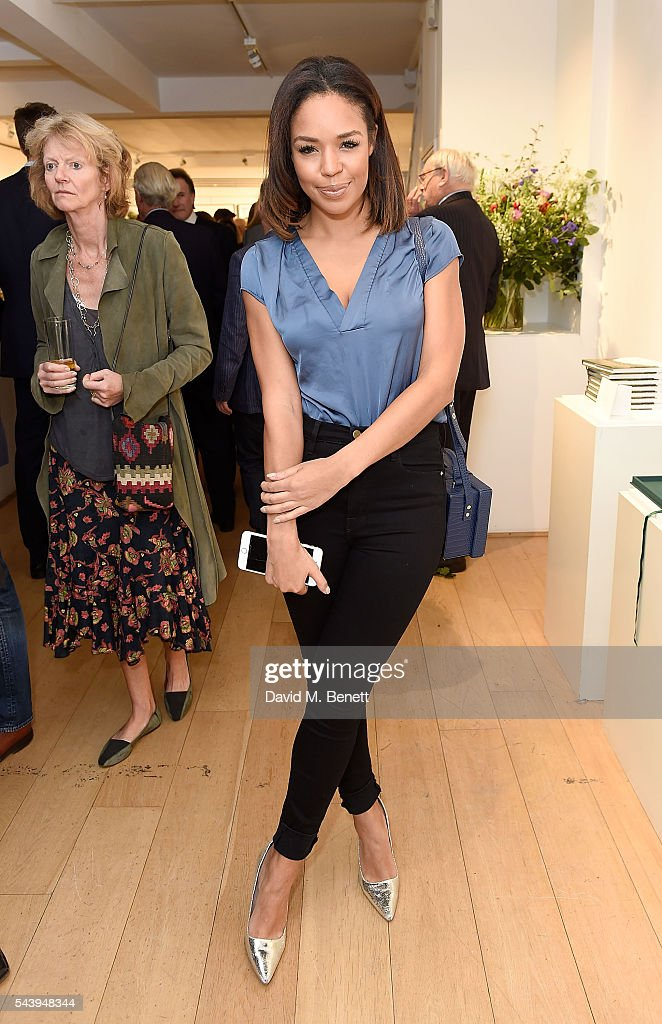 Sarah Jane Crawford attends the exhibition launch party of 'The Zero Hour Panoramas' by Jolyon Fenwick. The exhibition consists of 14 photographic panoramas showcasing, '100 Years on: Views From The Parapet of the Somme', at Sladmore Contemporary on June 30, 2016 in London, England.