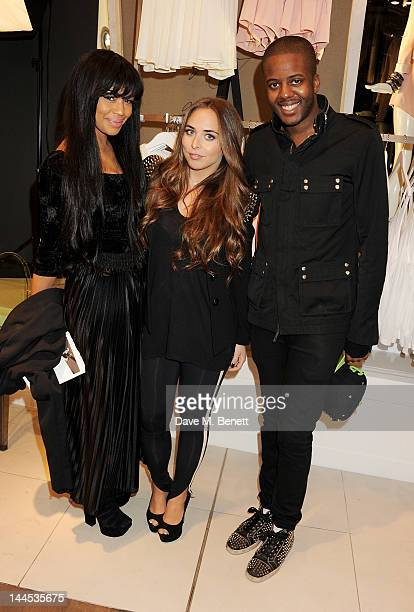 Sarah Jane Crawford Chloe Green and Vas J Morgan attend as Chloe Green previews her debut CJG shoe collection at Topshop Oxford Circus on May 15 2012...