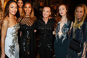 Sarah Jane Crawford Rochelle Humes Julien Macdonald Olivia Grant and Alice NaylorLeyland pose backstage following the Julien Macdonald show during...