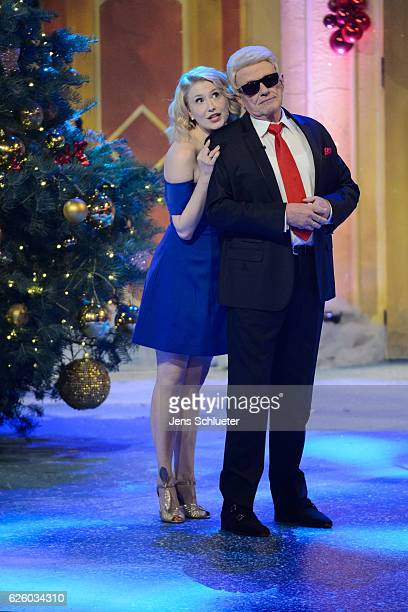 Sarah Jane Scott and Heino are seen on stage during the tv show 'Das Adventsfest der 100000 Lichter' on November 26 2016 in Suhl Germany