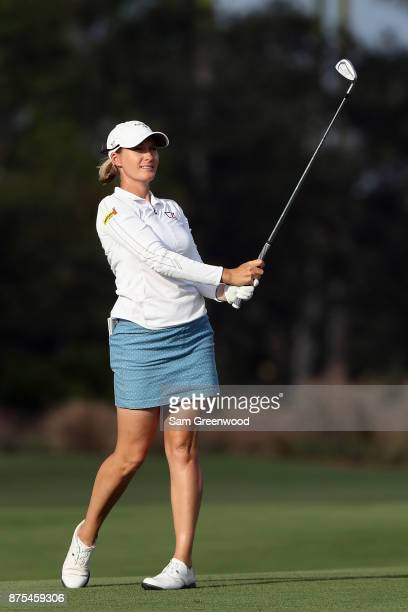 Sarah Jane Smith of Australia plays a shot on the 18th hole during round two of the CME Group Tour Championship at the Tiburon Golf Club on November...