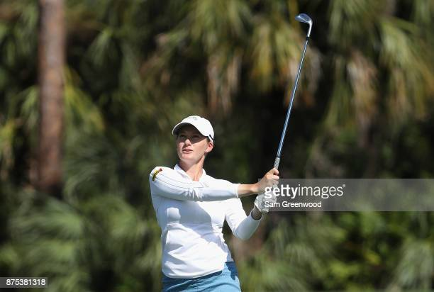 Sarah Jane Smith of Australia plays a shot on the seventh hole during round two of the CME Group Tour Championship at the Tiburon Golf Club on...