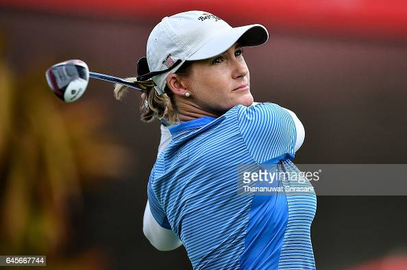 Sarah Jane Smith of Australia tee off at 1st hole during the final round of Honda LPGA Thailand at Siam Country Club on February 26 2017 in Chonburi...