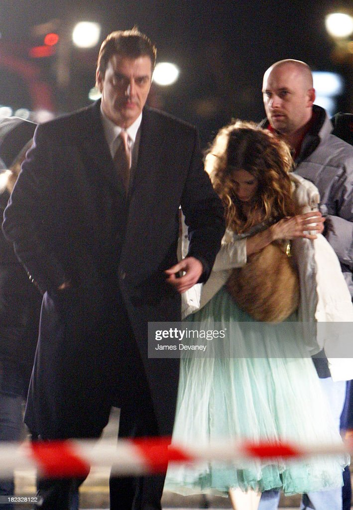 Sarah Jessica Parker and Chris Noth during Sarah Jessica Parker on the Set of Sex and the City in Paris, France - January 17, 2004 at Streets of Paris in Paris, France, France.