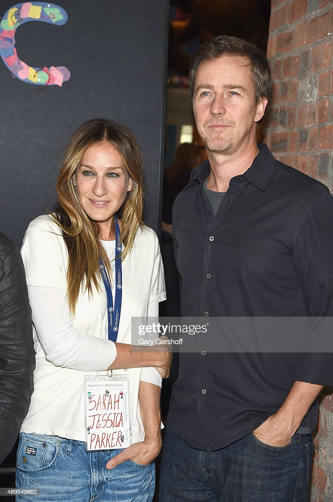 Sarah Jessica Parker and Edward Norton attend a press conference launching Turnarond Arts in New York City Schools at the Brooklyn Museum on...