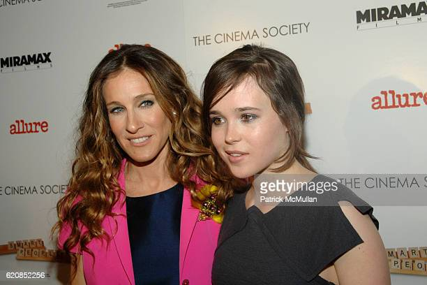 Sarah Jessica Parker and Ellen Page attend The Cinema Society and Linda Wells present a screening of Smart People at Landmark Sunshine Theater on...
