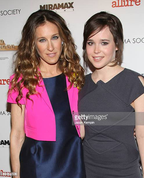 Sarah Jessica Parker and Ellen Page attend The Cinema Society and Linda Wells screening of 'Smart People' at Landmark Sunshine Theater on March 31...