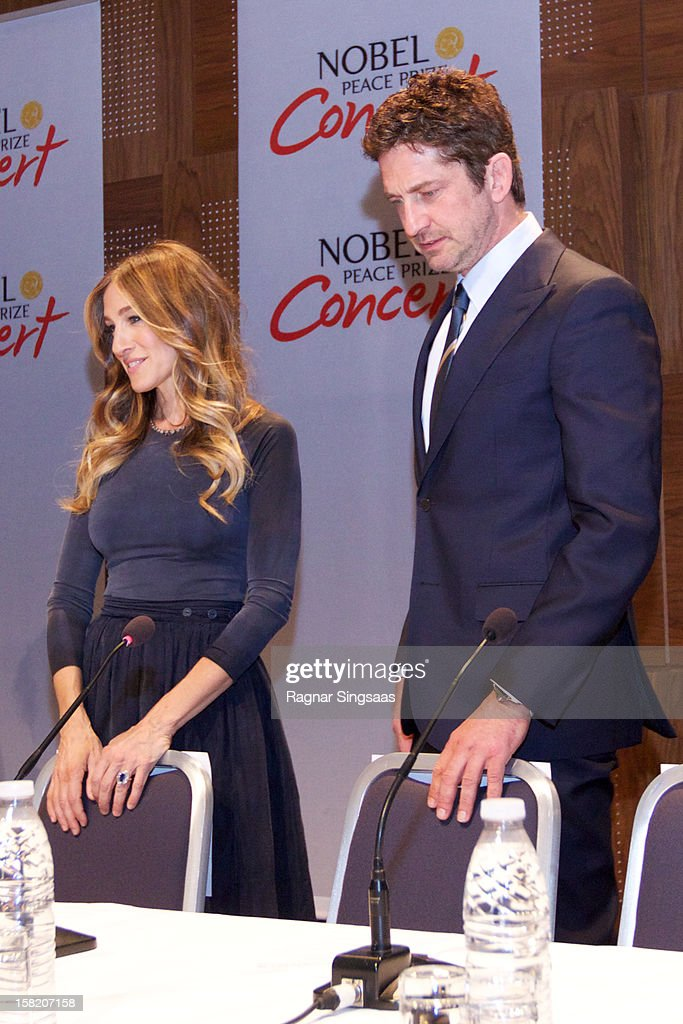 Sarah Jessica Parker and Gerard Butler attend a press conference ahead of the Nobel Peace Prize Concert at Radisson Blu Plaza Hotel on December 11, 2012 in Oslo, Norway.