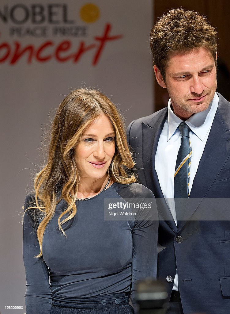 Sarah Jessica Parker and Gerard Butler attend the 2012 Nobel Peace Prize Concert press conference at Radisson Blu Plaza Hotel on December 11, 2012 in Oslo, Norway.