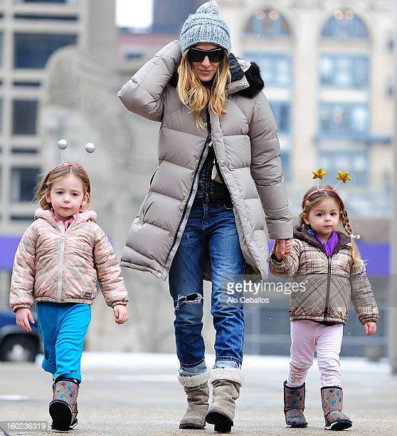Sarah Jessica Parker and her children Marion Broderick and Tabitha Broderick are seen in Soho on January 28 2013 in New York City