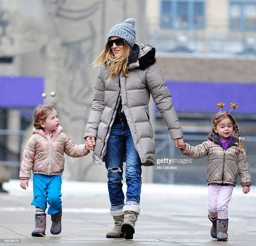 <a gi-track='captionPersonalityLinkClicked' href=/galleries/search?phrase=Sarah+Jessica+Parker&family=editorial&specificpeople=201693 ng-click='$event.stopPropagation()'>Sarah Jessica Parker</a> (C) and her children Marion Broderick (L) and Tabitha Broderick are seen in Soho on January 28, 2013 in New York City.