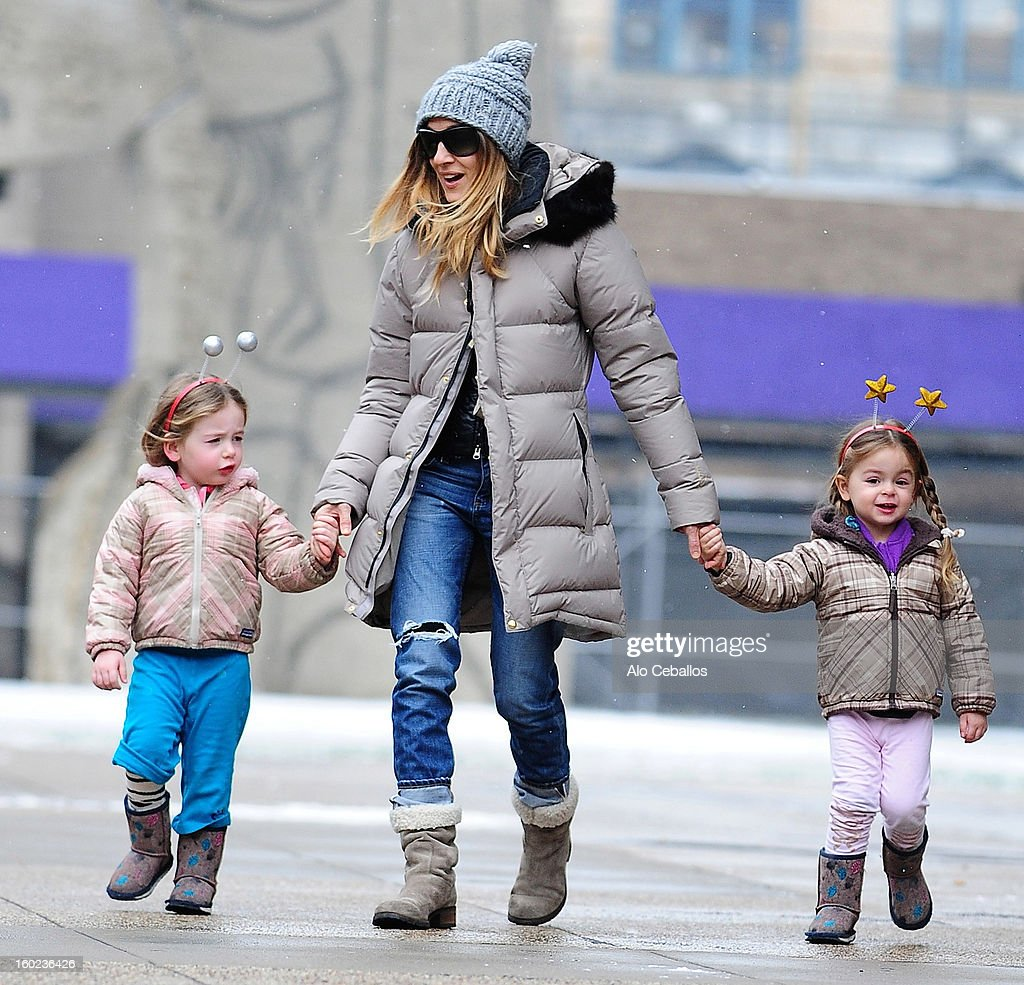 Sarah Jessica Parker (C) and her children Marion Broderick (L) and Tabitha Broderick are seen in Soho on January 28, 2013 in New York City.