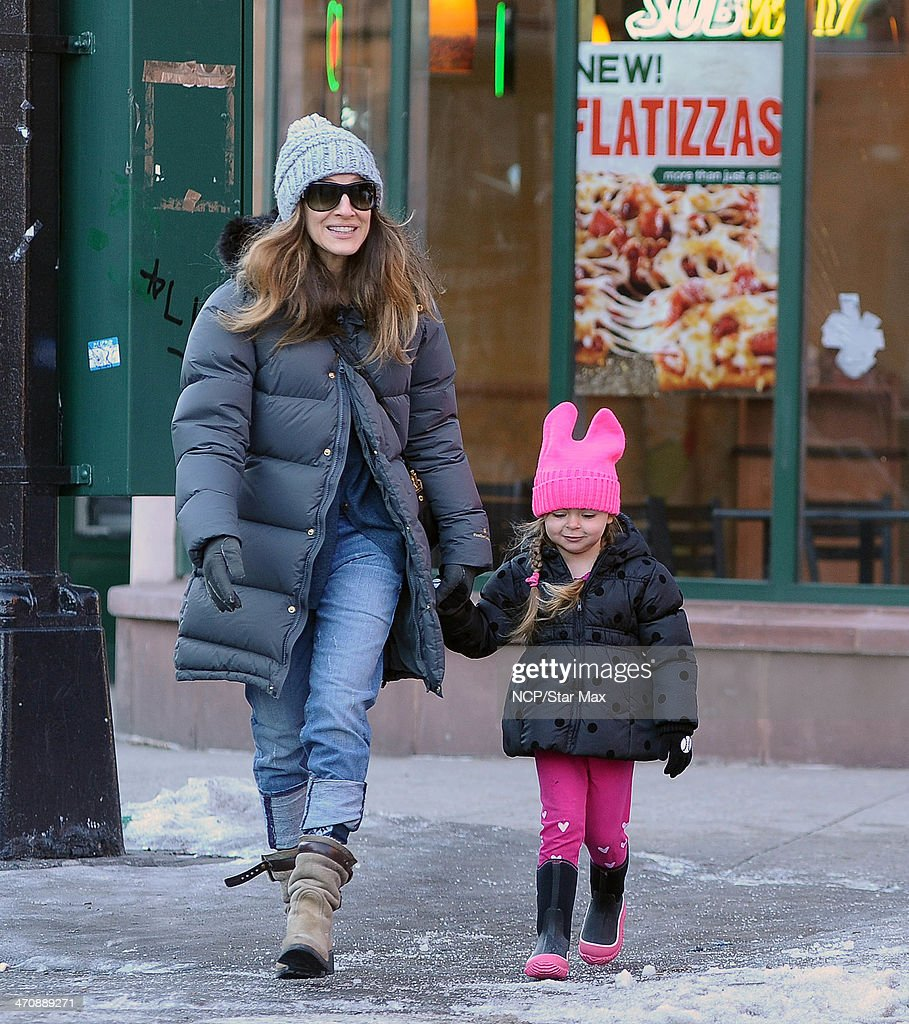 Sarah Jessica Parker and her daughter Tabitha Broderick are seen on February 20 2014 in New York City
