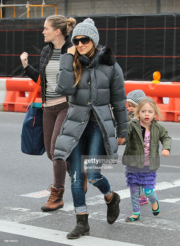 Sarah Jessica Parker and her daughters Marion Broderick and Tabitha Broderick are seen on November 15 2013 in New York City