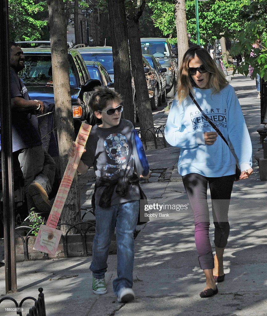 Sarah Jessica Parker and her son James Wilkie Broderick in the West Vilage on May 10, 2013 in New York City.