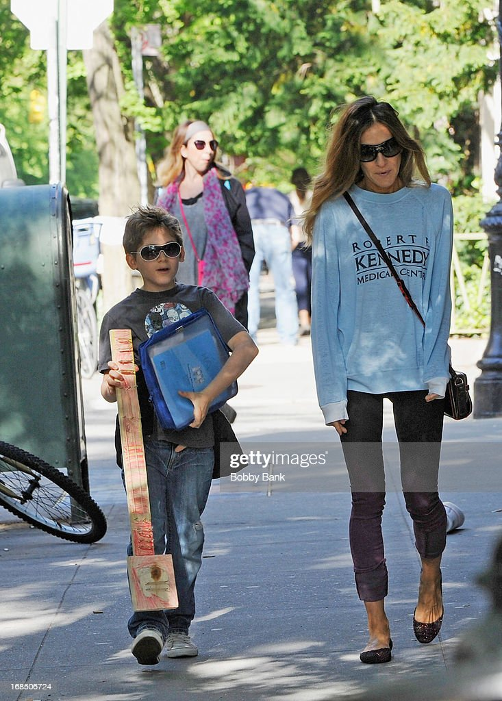 <a gi-track='captionPersonalityLinkClicked' href=/galleries/search?phrase=Sarah+Jessica+Parker&family=editorial&specificpeople=201693 ng-click='$event.stopPropagation()'>Sarah Jessica Parker</a> and her son <a gi-track='captionPersonalityLinkClicked' href=/galleries/search?phrase=James+Wilkie+Broderick&family=editorial&specificpeople=5579643 ng-click='$event.stopPropagation()'>James Wilkie Broderick</a> in the West Vilage on May 10, 2013 in New York City.