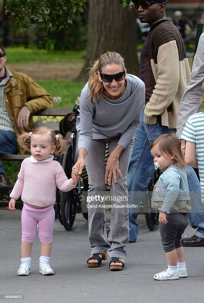 Sarah Jessica Parker and her twin daughters Marion Loretta Elwell and Tabitha Hodge are seen on May 07 2011 in New York City