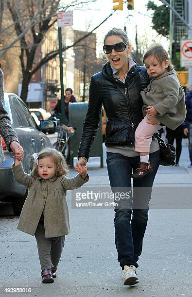 Sarah Jessica Parker and her twin daughters Tabitha and Marion are seen on April 03 2011 in New York City