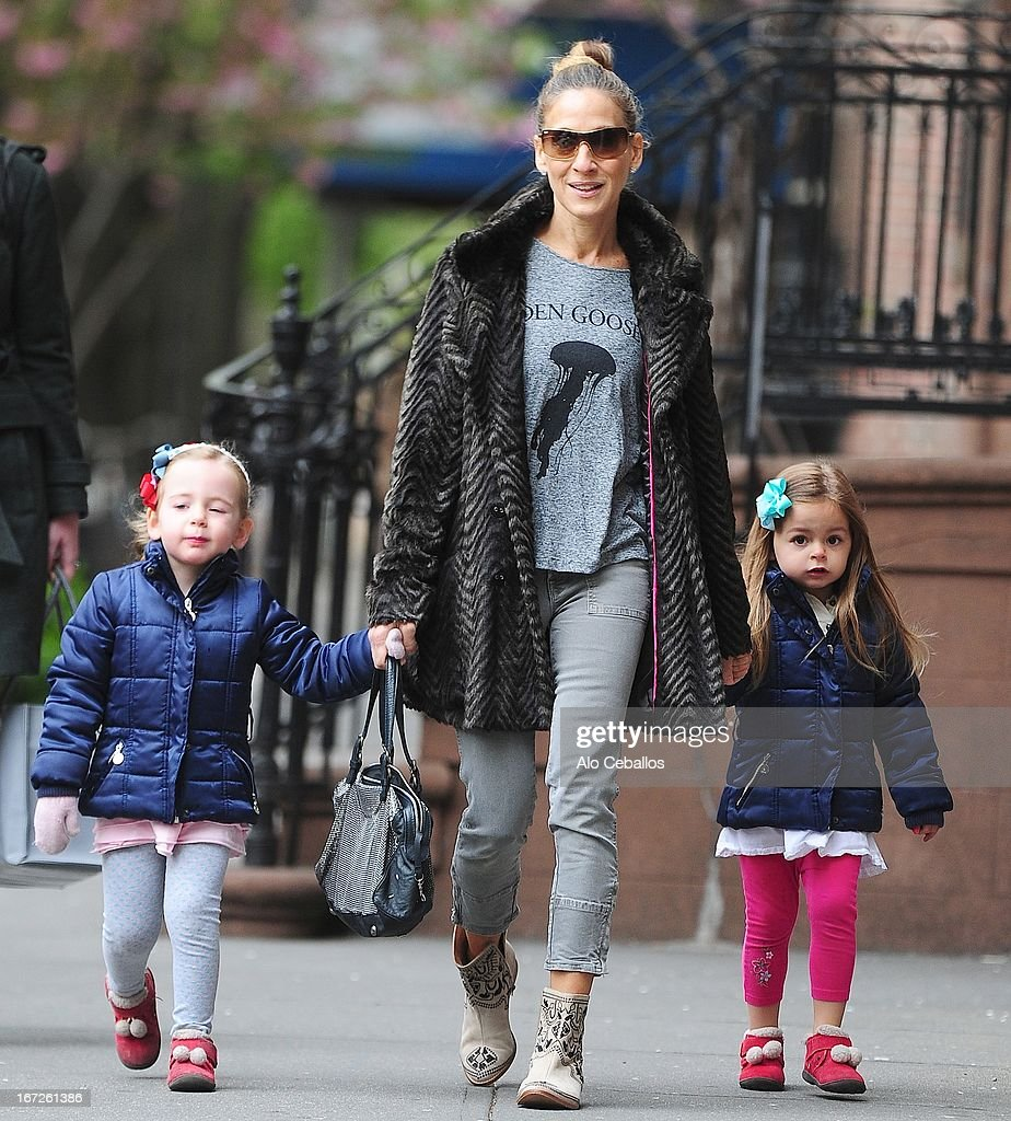 <a gi-track='captionPersonalityLinkClicked' href=/galleries/search?phrase=Sarah+Jessica+Parker&family=editorial&specificpeople=201693 ng-click='$event.stopPropagation()'>Sarah Jessica Parker</a> and her twin daughters <a gi-track='captionPersonalityLinkClicked' href=/galleries/search?phrase=Tabitha+Hodge+Broderick&family=editorial&specificpeople=5947262 ng-click='$event.stopPropagation()'>Tabitha Hodge Broderick</a> and <a gi-track='captionPersonalityLinkClicked' href=/galleries/search?phrase=Marion+Loretta+Elwell+Broderick&family=editorial&specificpeople=5947260 ng-click='$event.stopPropagation()'>Marion Loretta Elwell Broderick</a> are seen in West Village on April 23, 2013 in New York City.
